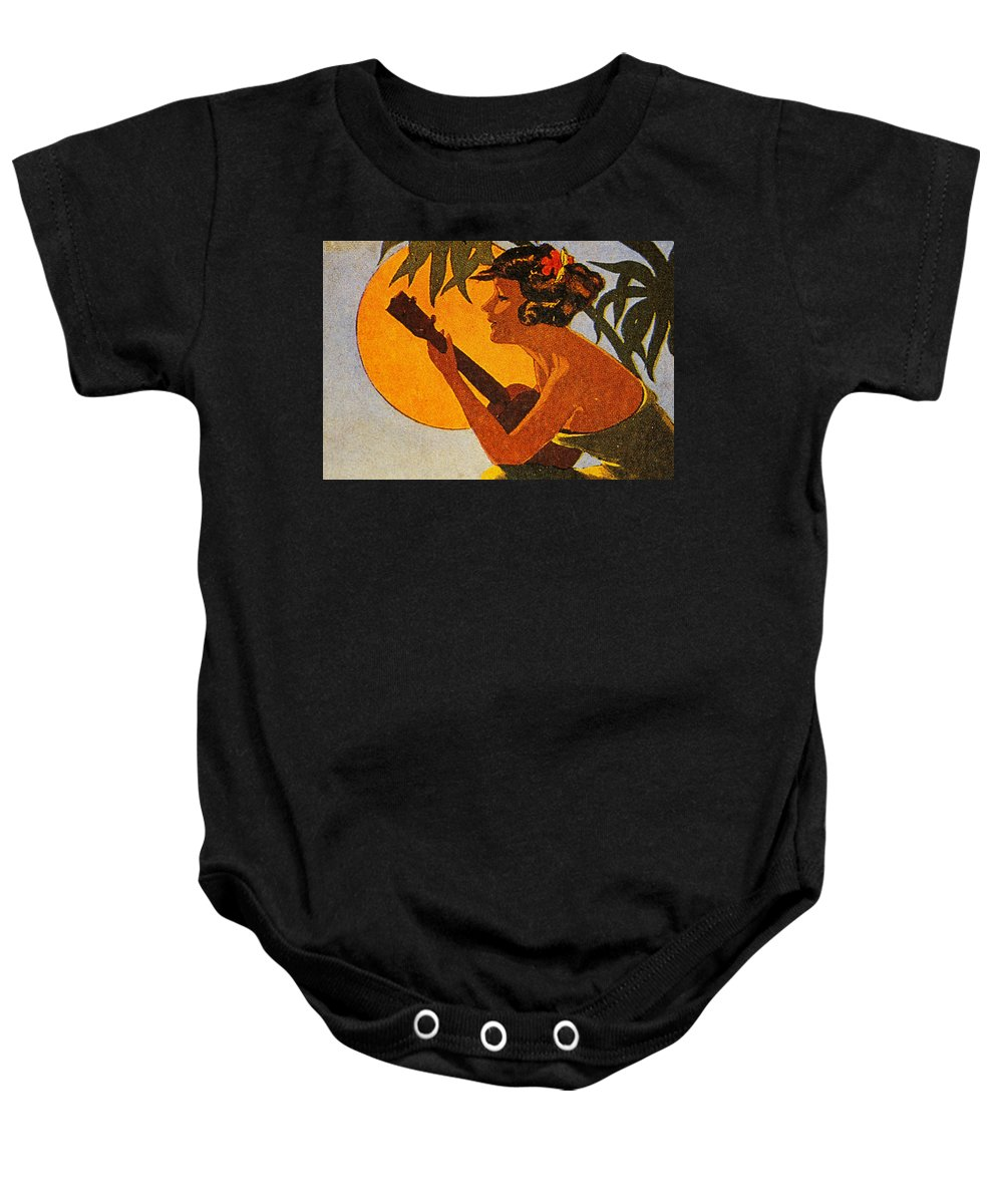 1925 Baby Onesie featuring the painting Vintage Hawaiian Art by Hawaiian Legacy Archive - Printscapes