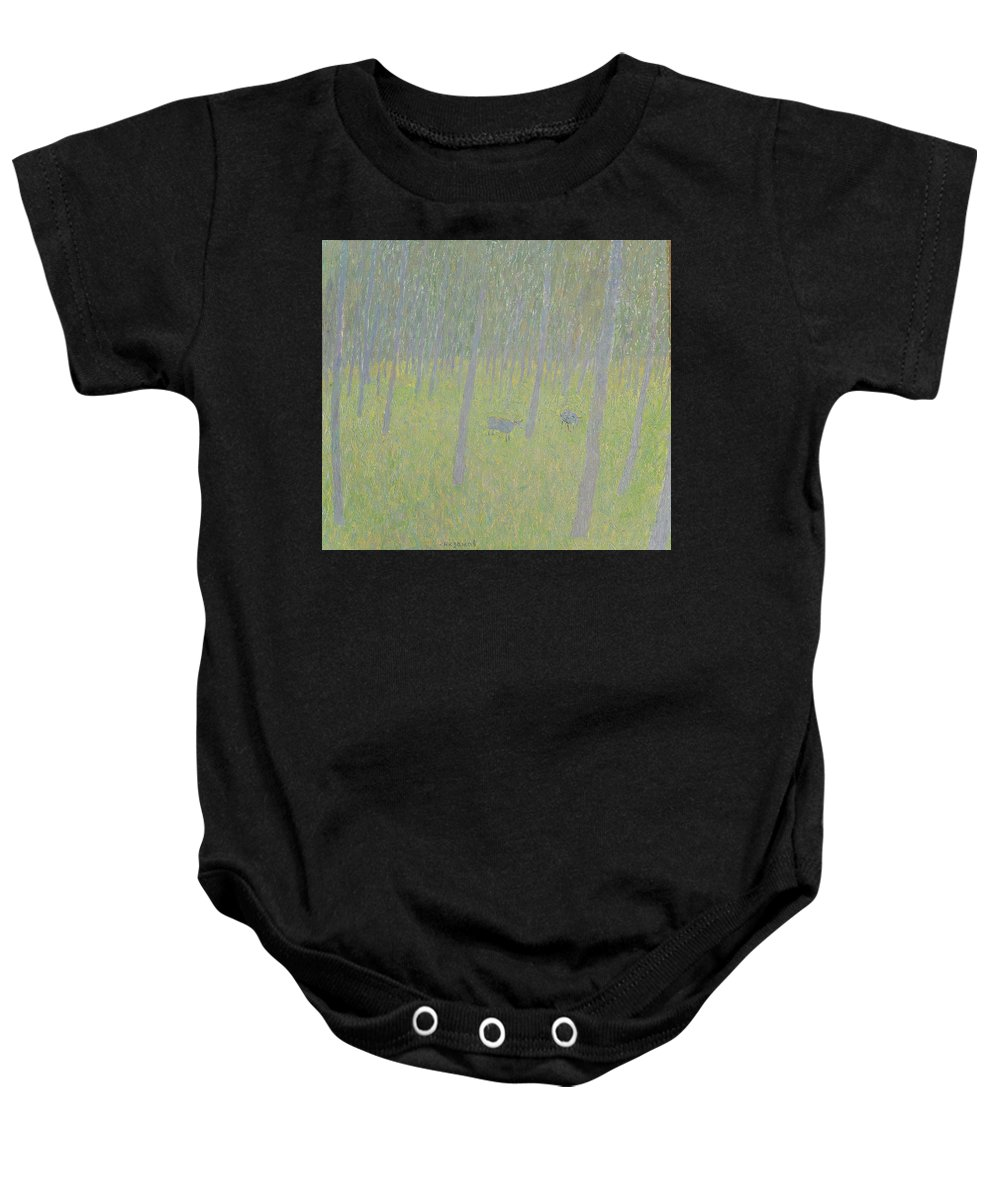 Sheep Baby Onesie featuring the painting Forest by Robert Nizamov