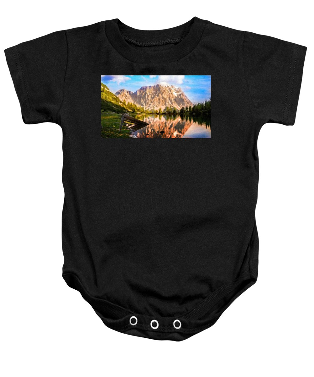 Landscape Baby Onesie featuring the painting Nature Work Landscape by World Map