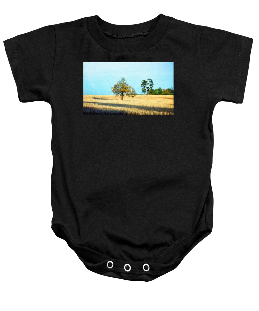 Landscape Baby Onesie featuring the painting Oil Painting Landscape Pictures Nature by World Map