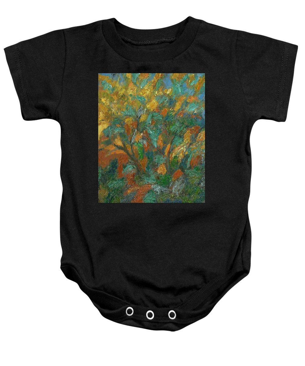 Sun Baby Onesie featuring the painting Tree by Robert Nizamov