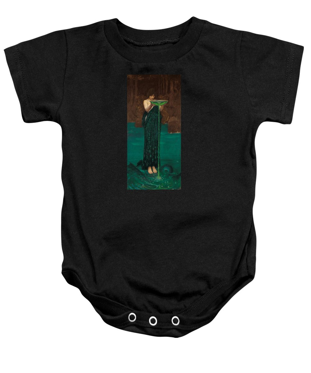 John William Waterhouse Baby Onesie featuring the painting Circe Invidiosa by John William Waterhouse