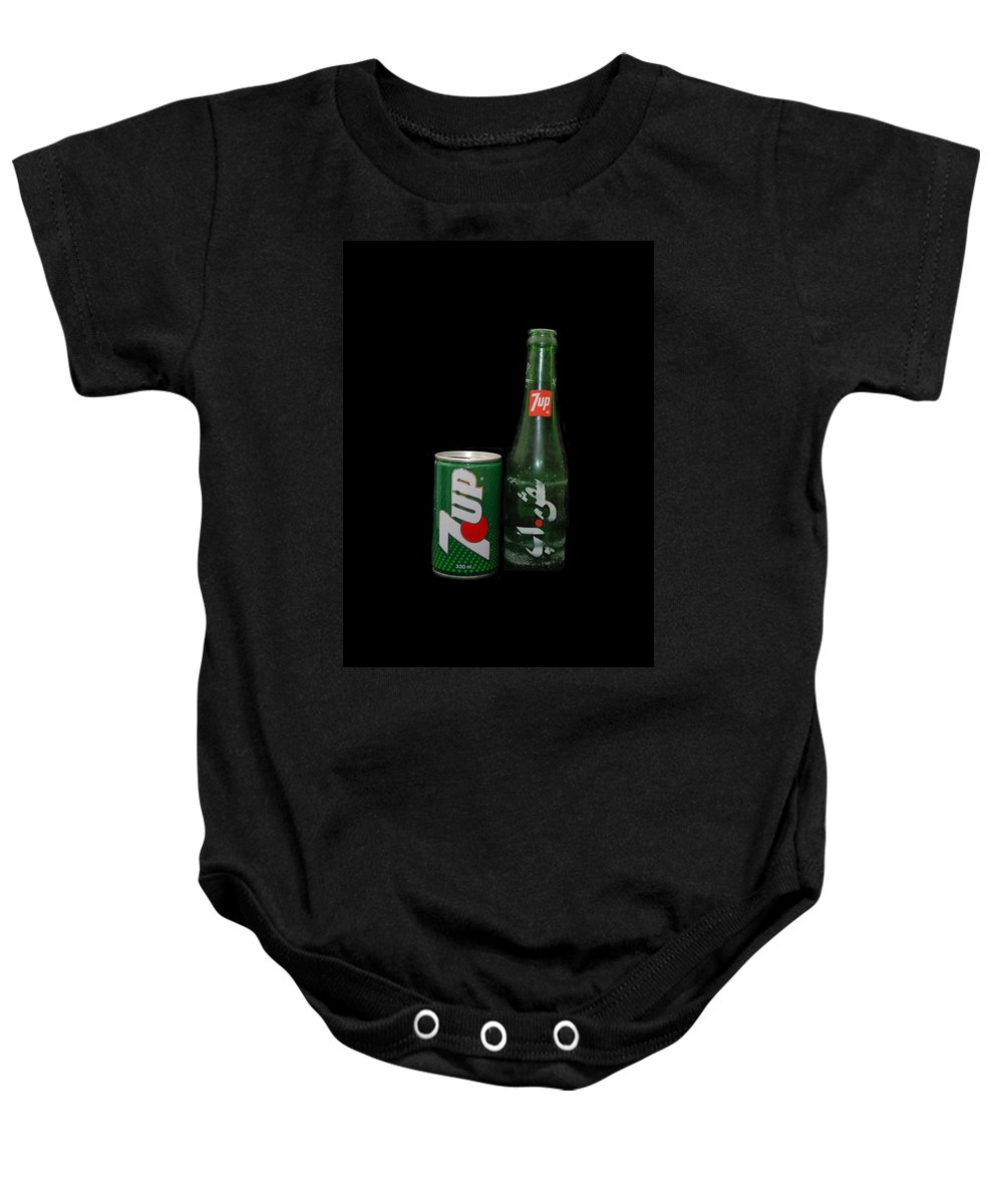 Green Baby Onesie featuring the photograph 7 Up by Rob Hans