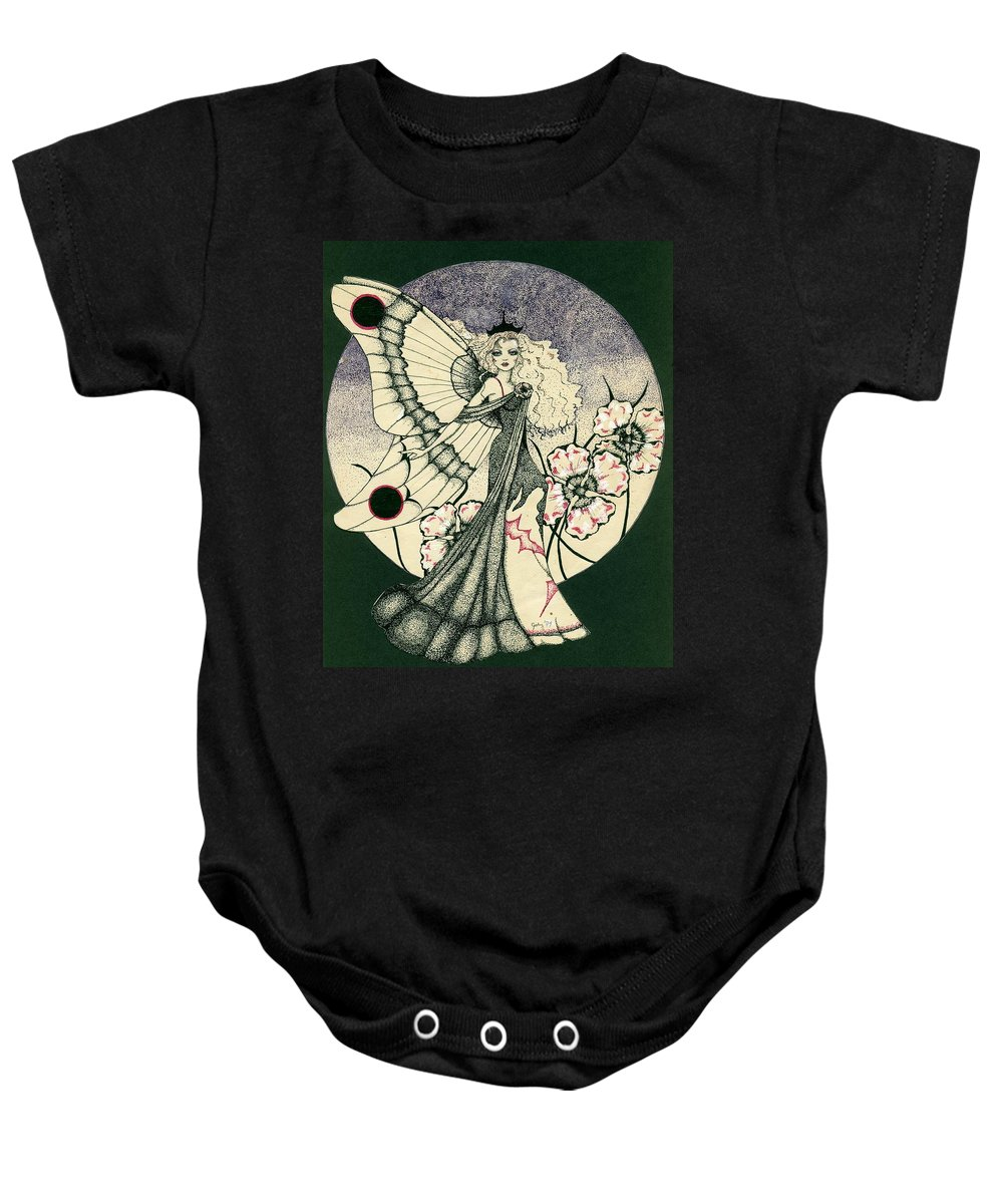 70's Style Baby Onesie featuring the drawing 70's Angel by V Boge