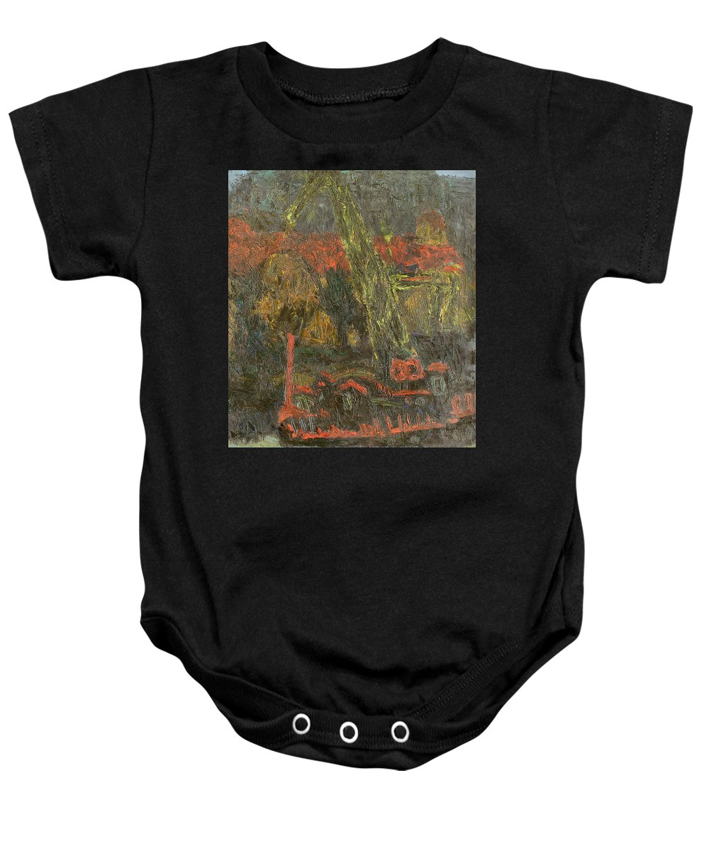 Quay Baby Onesie featuring the painting Evening by Robert Nizamov