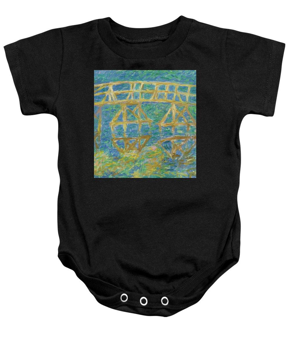 Bay Baby Onesie featuring the painting Bridge by Robert Nizamov