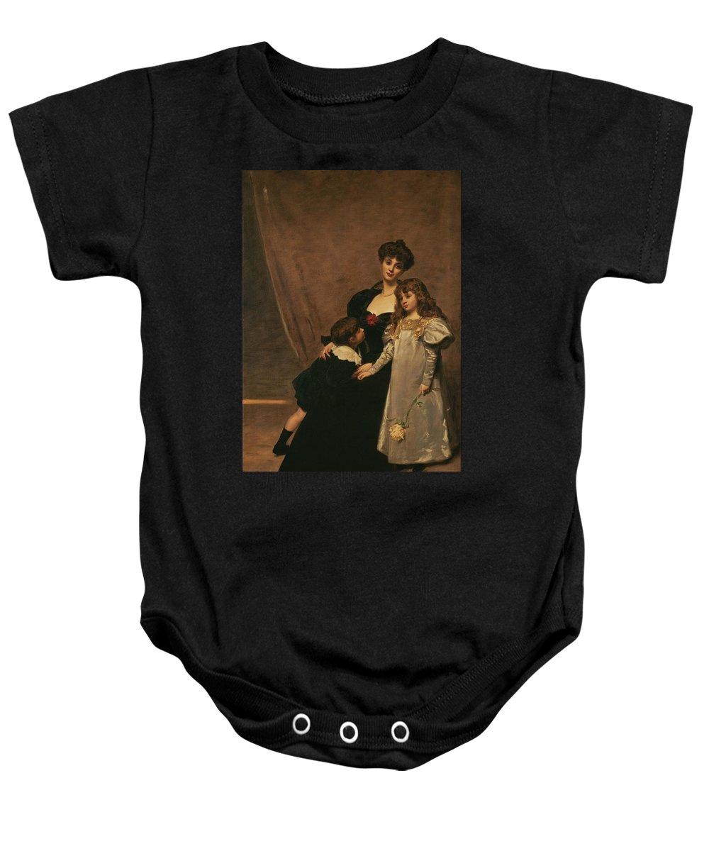 Émile-auguste Carolus-duran (1838 - 1917) Baby Onesie featuring the painting Family by MotionAge Designs