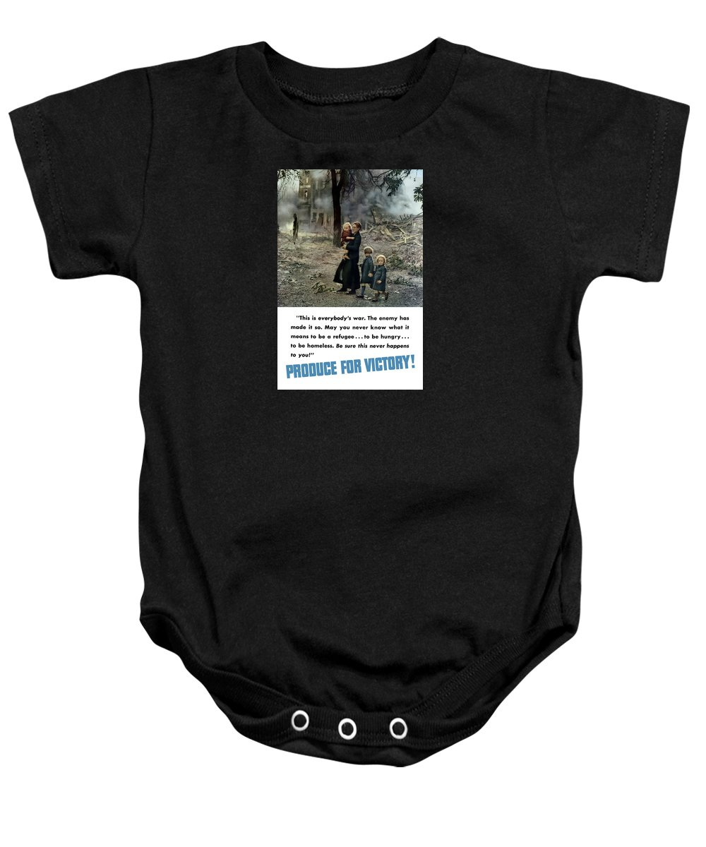 World War Ii Baby Onesie featuring the painting Produce For Victory by War Is Hell Store