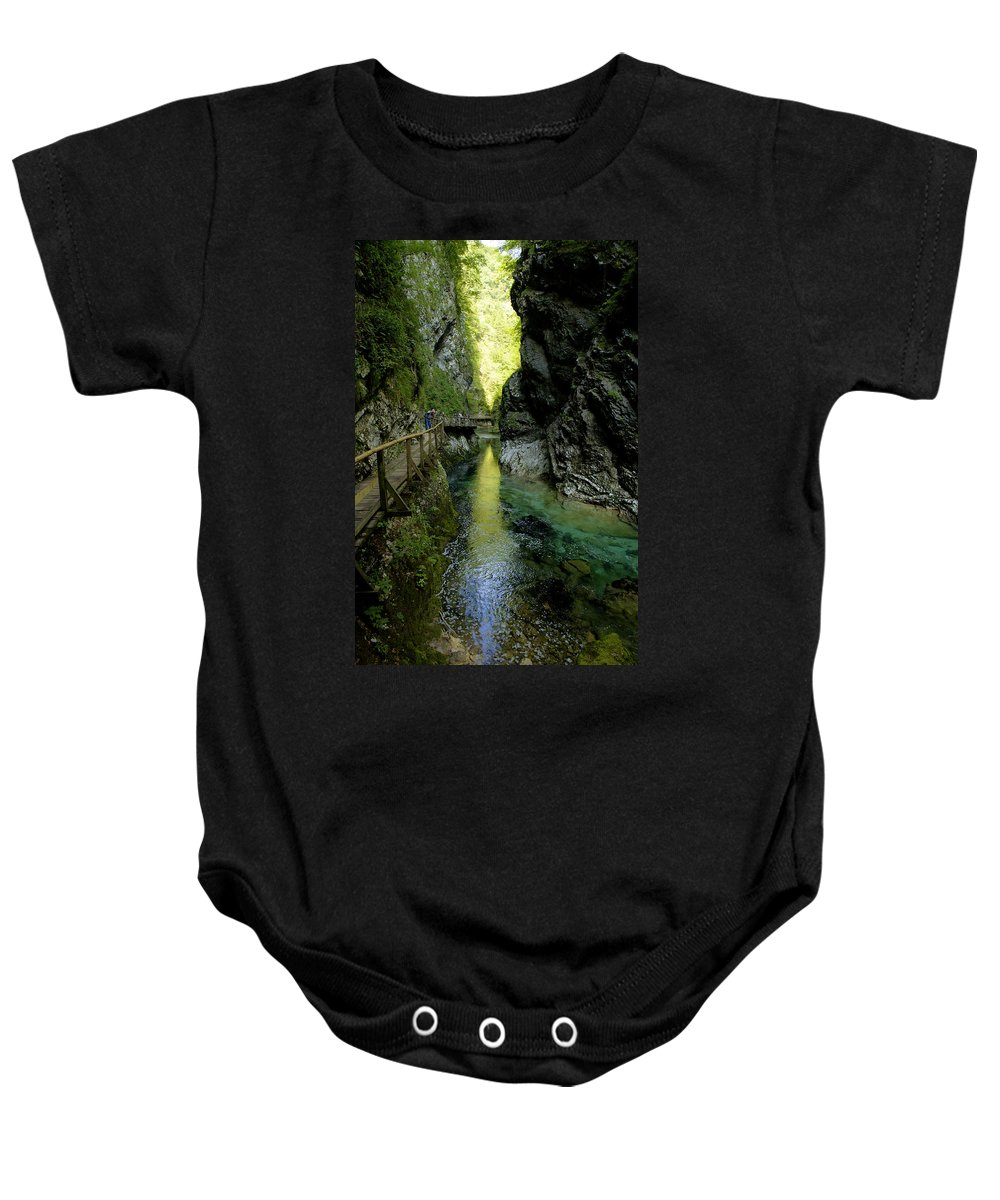 Vintgar Baby Onesie featuring the photograph The Vintgar Gorge by Ian Middleton