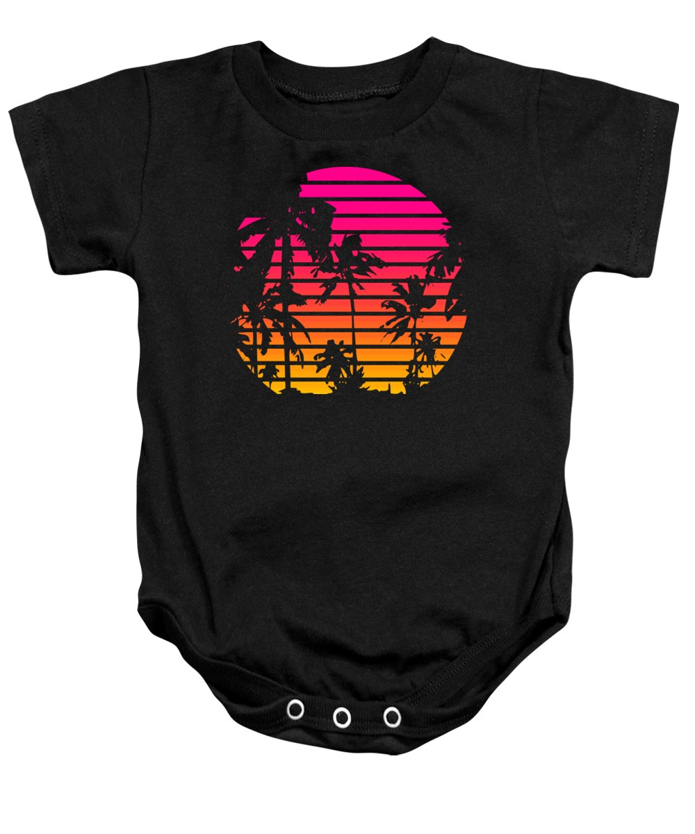 Sun Baby Onesie featuring the mixed media 80s Tropical Sunset by Filip Schpindel