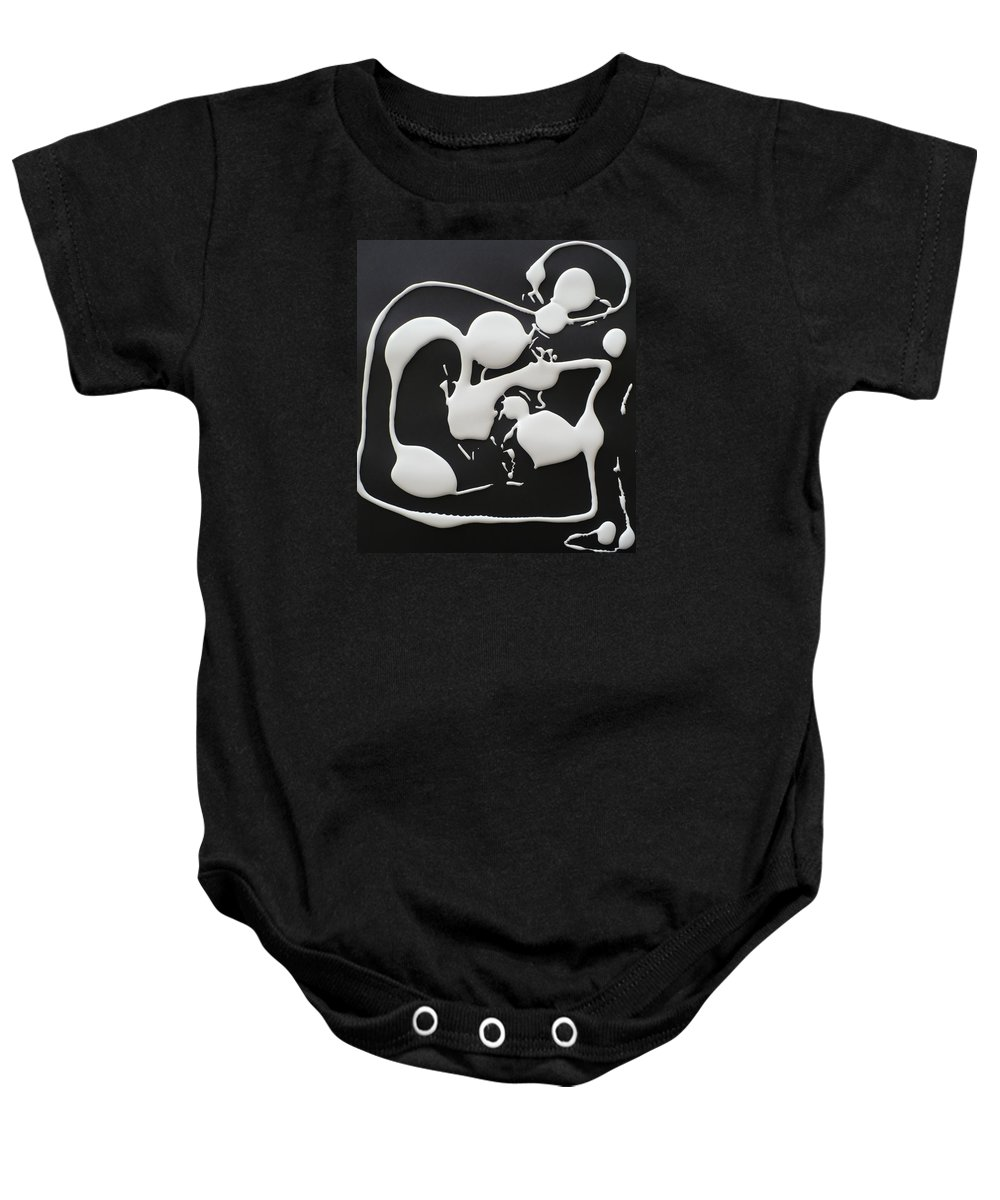 The Shadow To The Light. Baby Onesie featuring the painting 9 Months. by Coco de la Garrigue