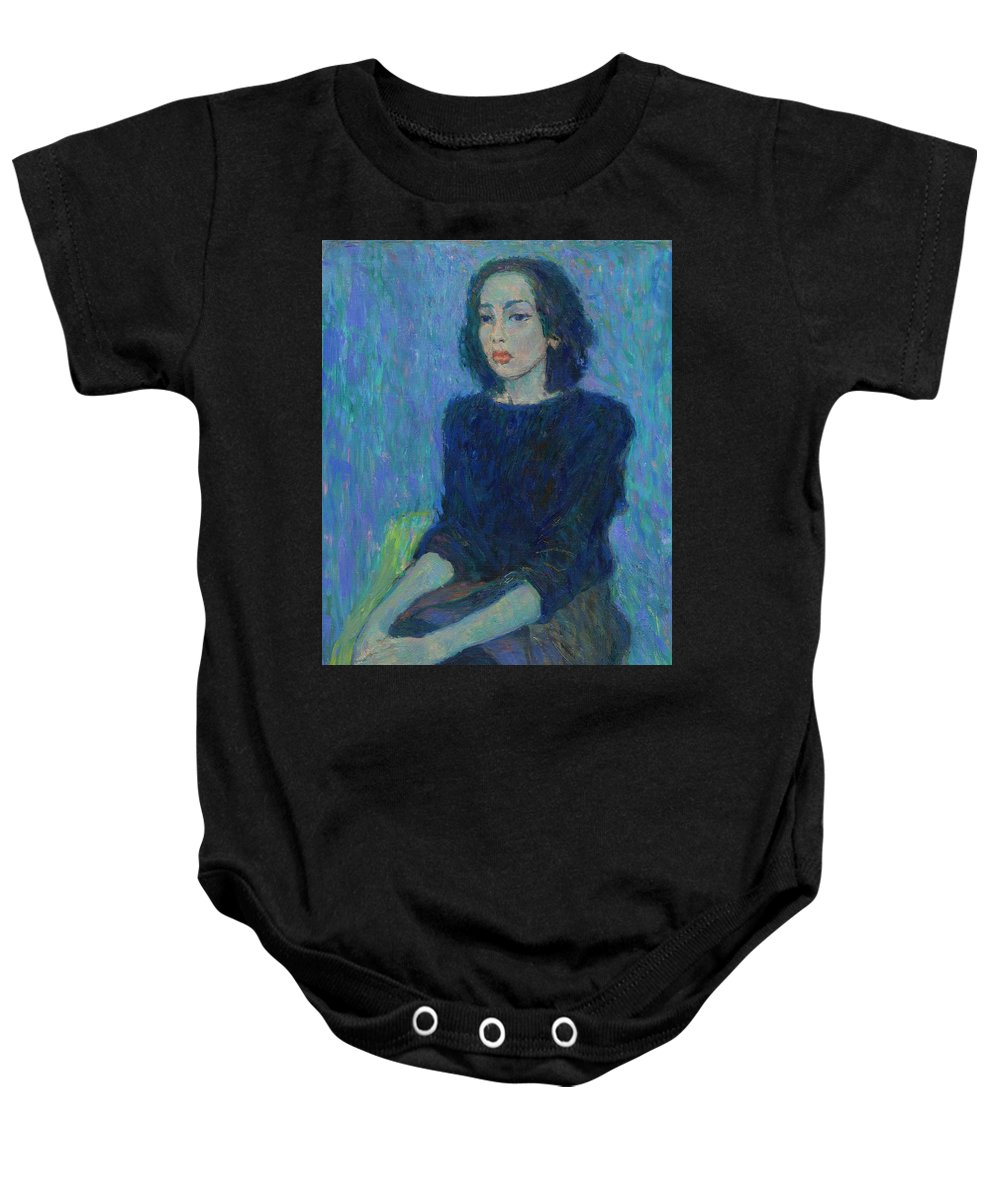 Portrait Baby Onesie featuring the painting Portrait by Robert Nizamov