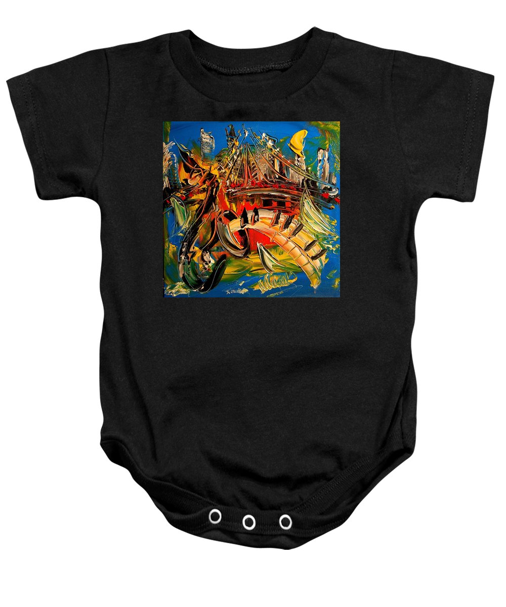 Impressionist Framed Prints Baby Onesie featuring the mixed media Saxophone by Mark Kazav