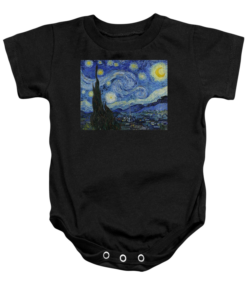 Starry Night Baby Onesie featuring the painting The Starry Night by Vincent van Gogh