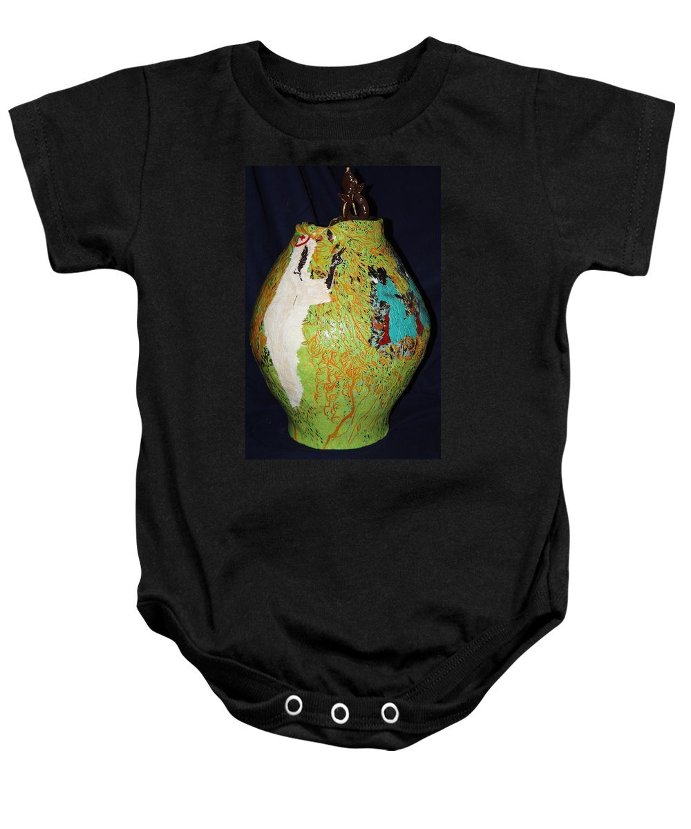 Jesus Baby Onesie featuring the painting Wise Virgins by Gloria Ssali