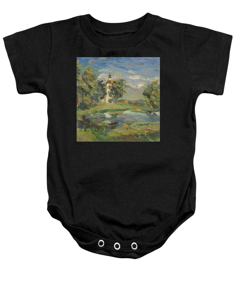 Tree Baby Onesie featuring the painting Church by Robert Nizamov