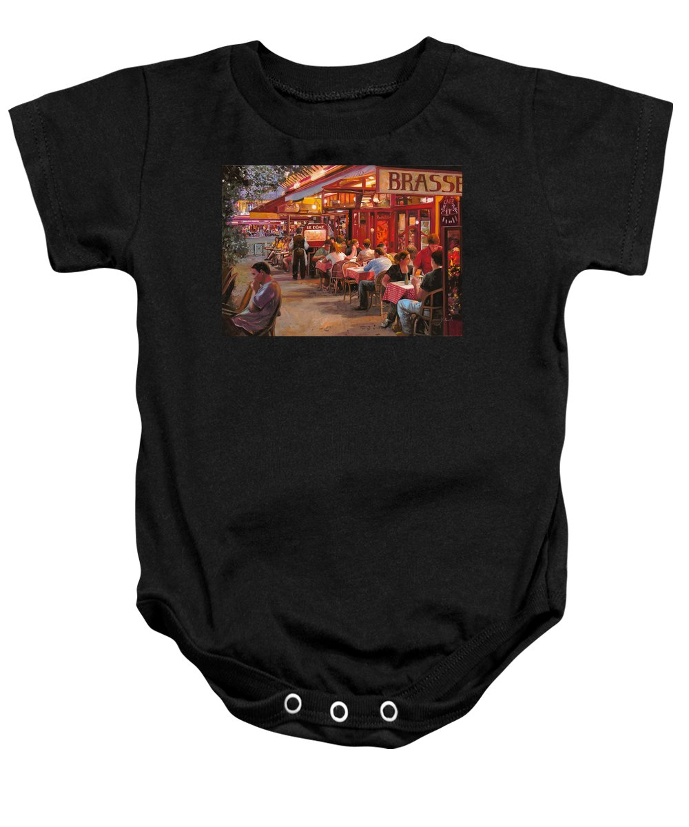 Street Scene Baby Onesie featuring the painting A Cena In Estate by Guido Borelli