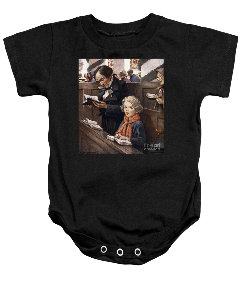 Aod Baby Onesie featuring the painting A Christmas Carol by Granger