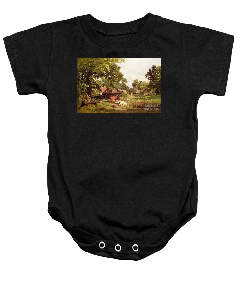 Cottage Baby Onesie featuring the painting A Cottage Home In Surrey by Edward Henry Holder