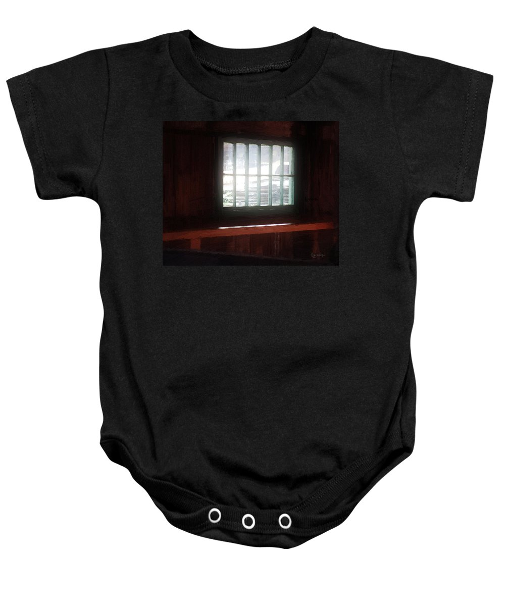 Window Baby Onesie featuring the painting A Dark And Fearsome Place by RC DeWinter