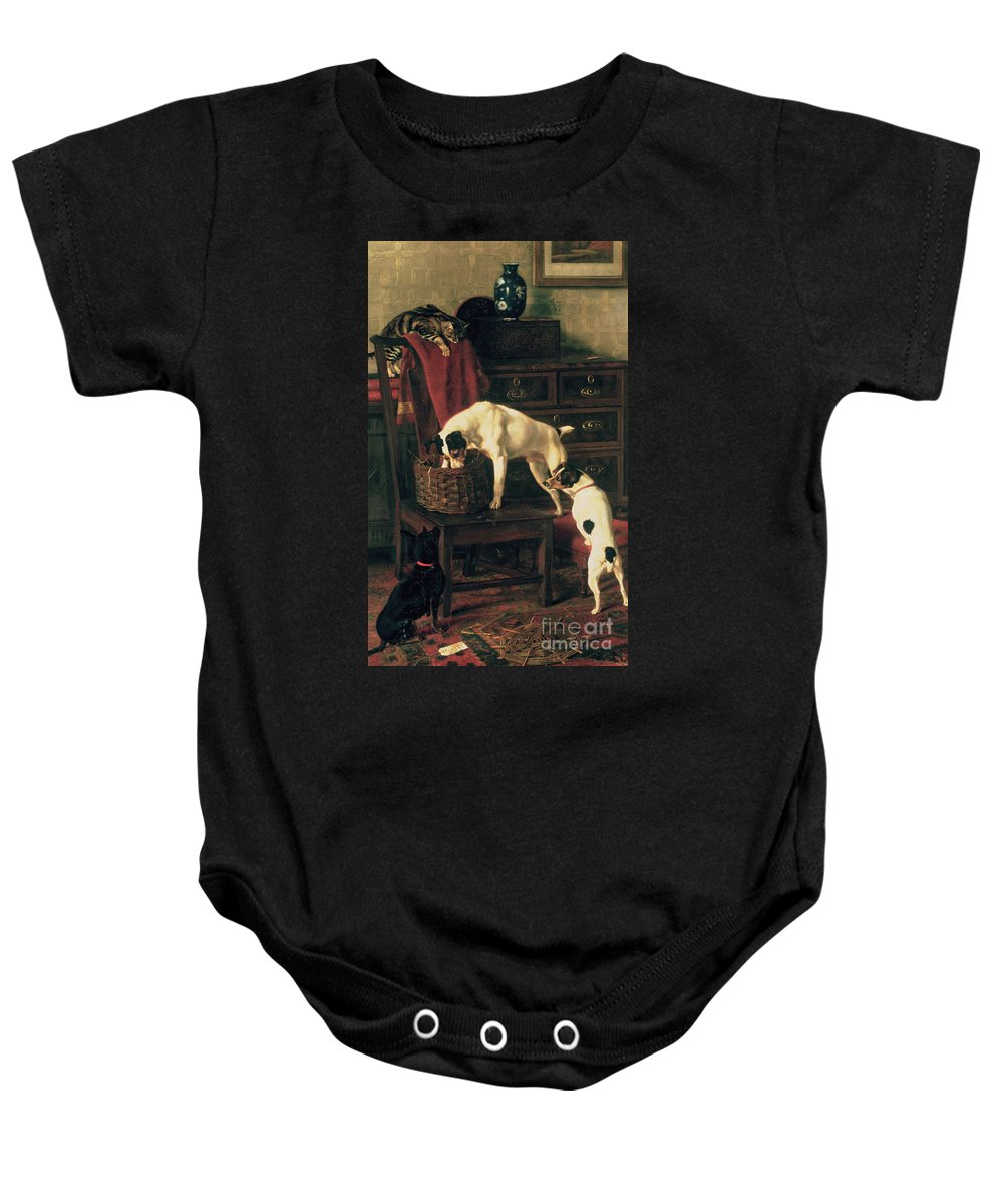 A Discreet Inquiry: Don't Disturb Me At The Royal Academy Baby Onesie featuring the painting A Discreet Inquiry by Rupert Arthur Dent