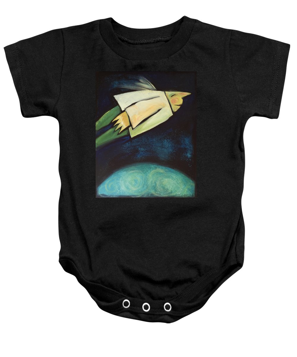 Universe Baby Onesie featuring the painting A Finger Two Dots Then Me by Tim Nyberg