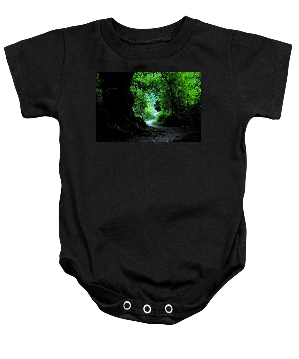 Art Baby Onesie featuring the painting A Forest Trail by David Lee Thompson