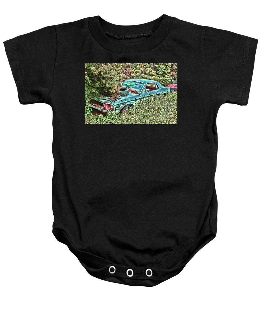 Ford Baby Onesie featuring the digital art A Forgotten Mustang by Tommy Anderson