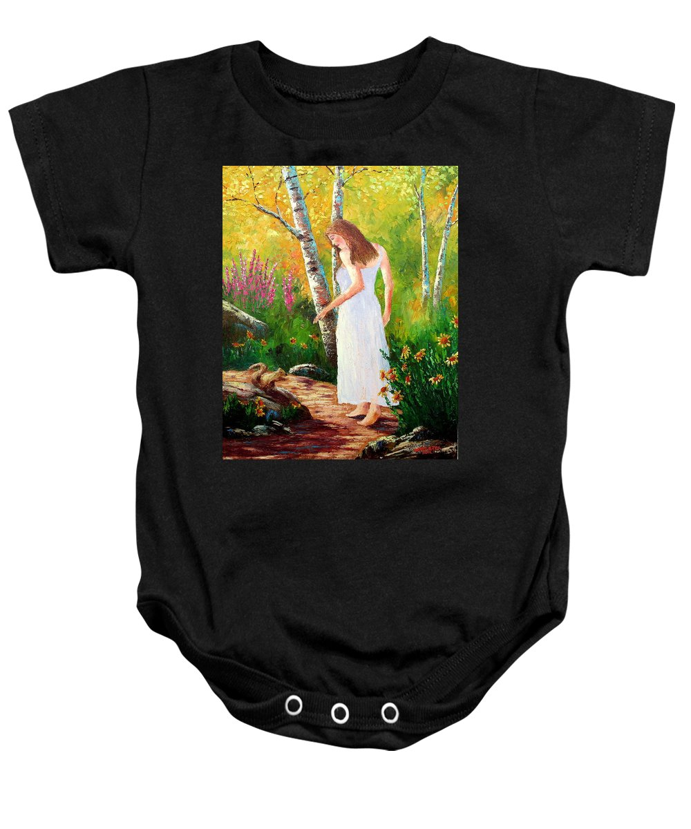 Landscape Baby Onesie featuring the painting A Friendly Greeting by David G Paul