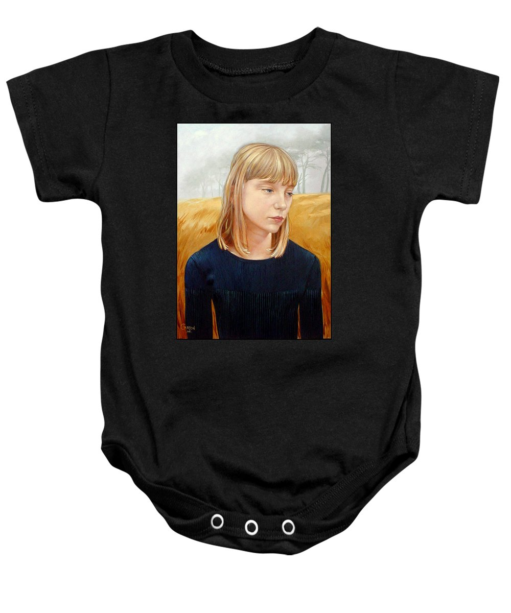 Girl Baby Onesie featuring the painting A Gang Of Crows by Jerrold Carton
