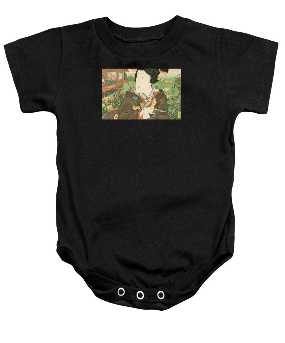 Girl Baby Onesie featuring the painting A Geisha With A Pipe by Utagawa Kunisada