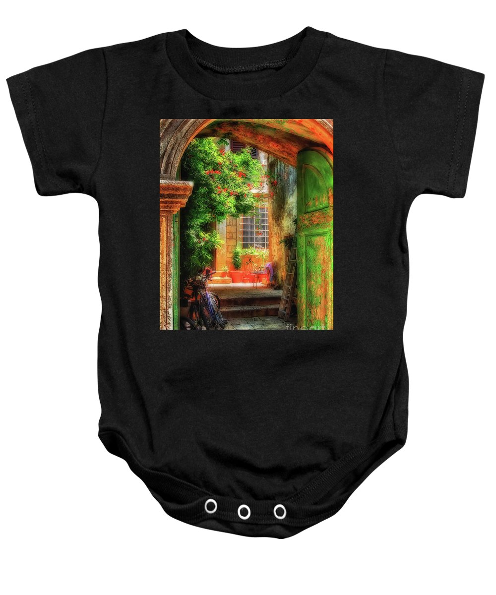Doorway Baby Onesie featuring the photograph A Glimpse by Lois Bryan
