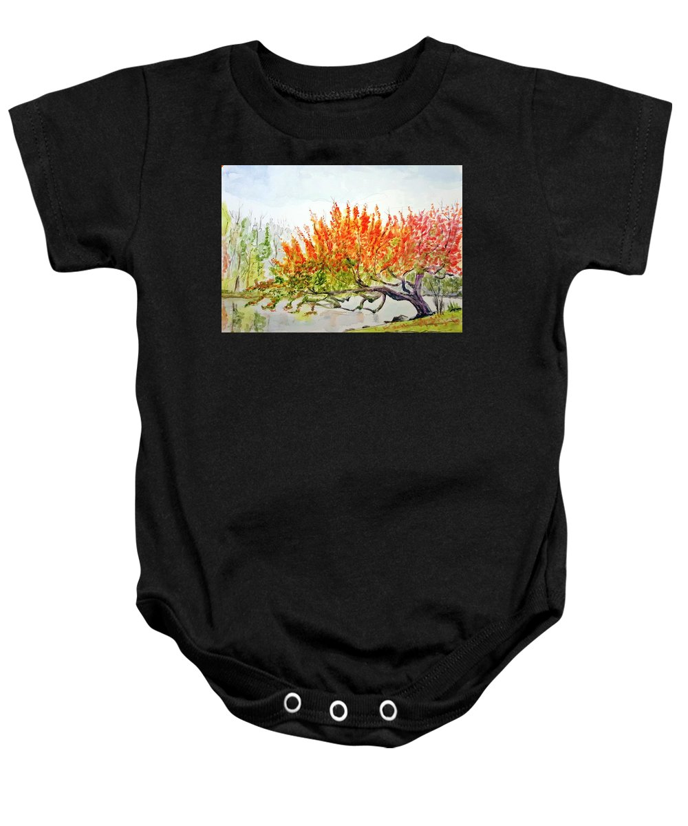 Tree Baby Onesie featuring the painting A Graceful Bow by Steve Duke - Artist