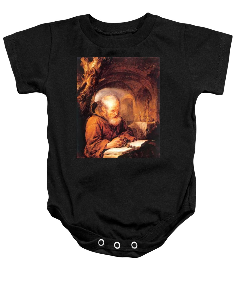 A Baby Onesie featuring the painting A Hermit Praying 1670 by Dou Gerrit