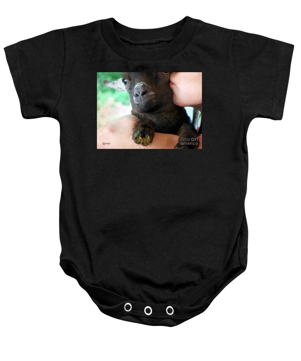 Girl Baby Onesie featuring the painting A Kiss For The Kid by RC DeWinter