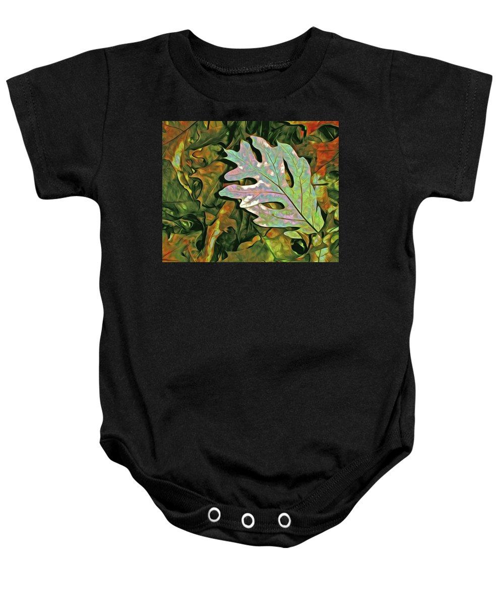 Oak Baby Onesie featuring the mixed media A Leaf On The Pile by Lynda Lehmann