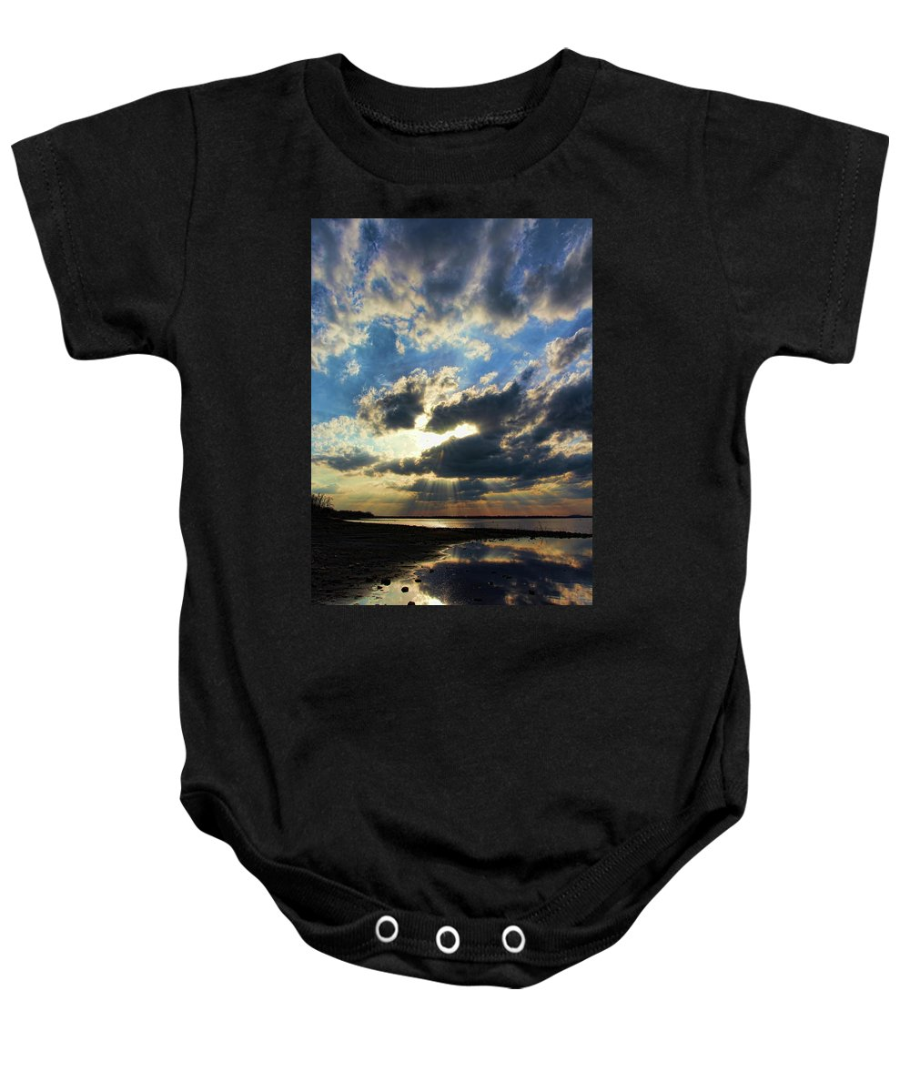 Sunset Baby Onesie featuring the photograph A Little Slice Of Heaven by Carolyn Fletcher
