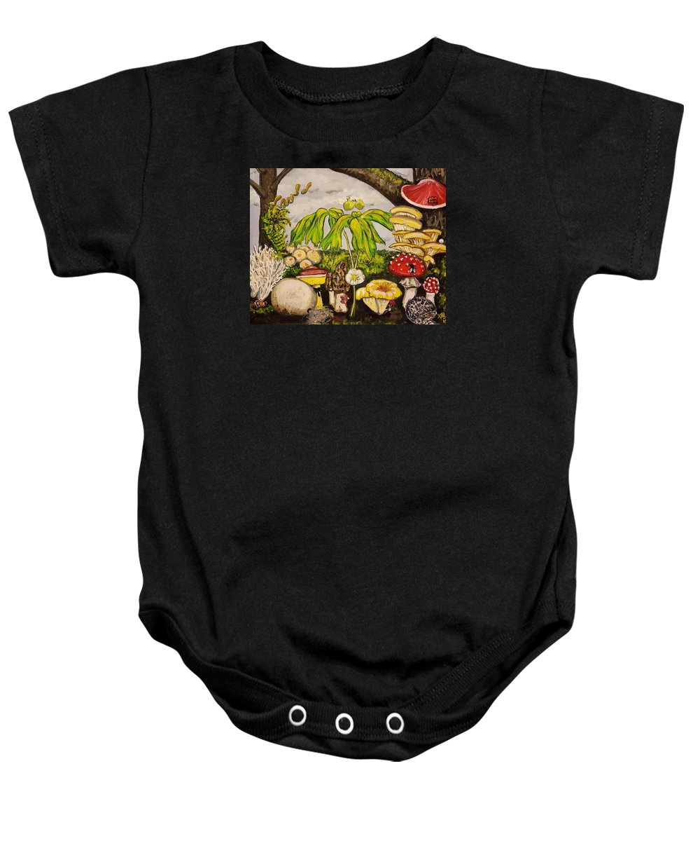 Fairytale Baby Onesie featuring the painting A Mushroom Story by Alexandria Weaselwise Busen