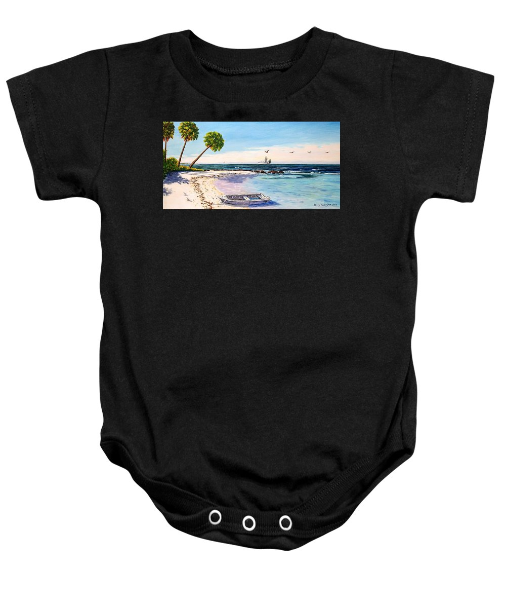 Gulf Baby Onesie featuring the painting A Nice Day At The Beach by Jerry SPANGLER