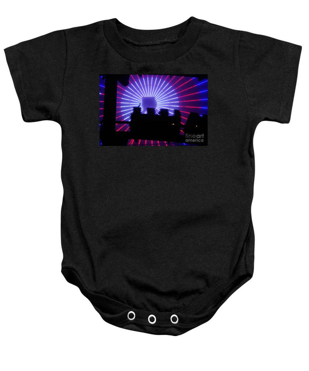 Clay Baby Onesie featuring the photograph A Night At Santa Monica Pier by Clayton Bruster