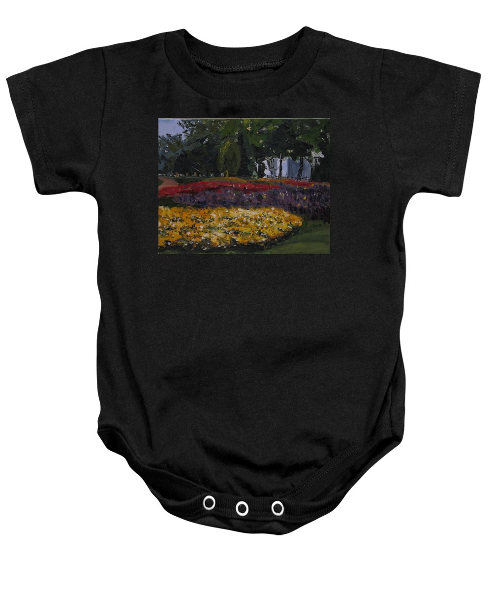 Landscape Baby Onesie featuring the painting A Park In Cambrige by Piety Choi