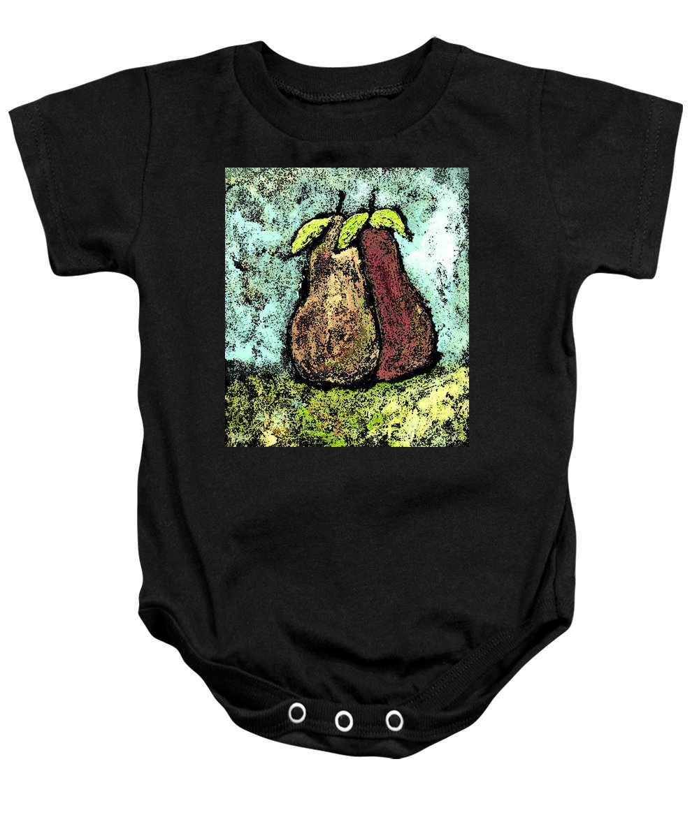 Pears Baby Onesie featuring the painting A Pear Pair by Wayne Potrafka