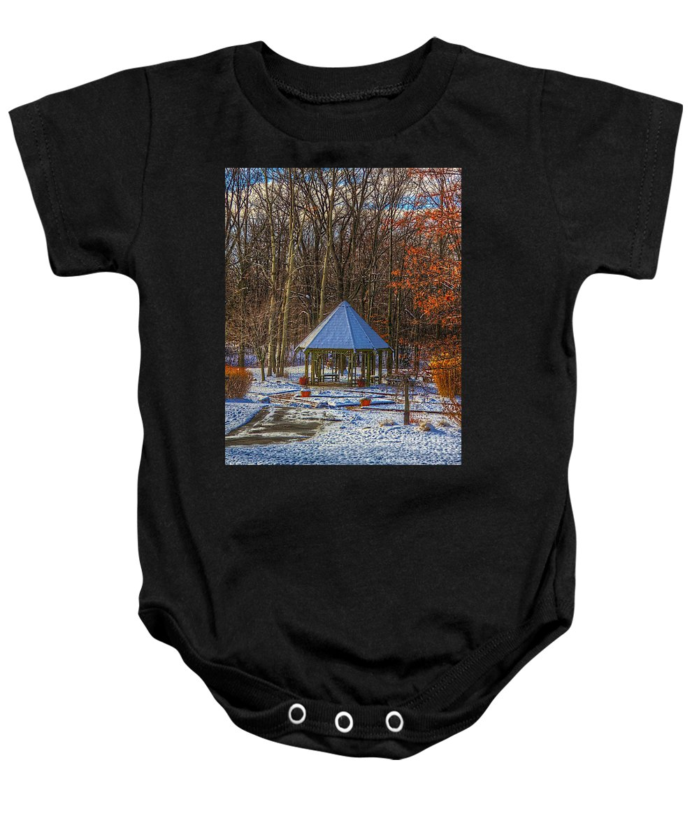 Woods Baby Onesie featuring the photograph A Quiet Place-fall Time-winter by Robert Pearson