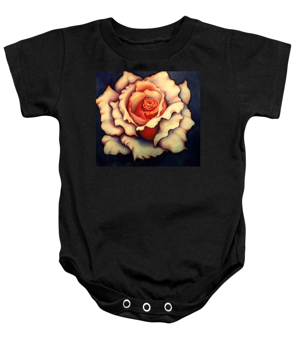 Flower Baby Onesie featuring the painting A Rose by Jordana Sands