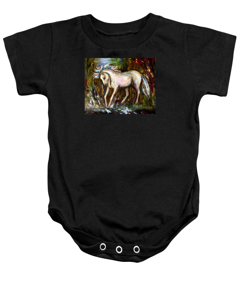 Horse Painting Baby Onesie featuring the painting A Secret Place White Hores Painting by Frances Gillotti