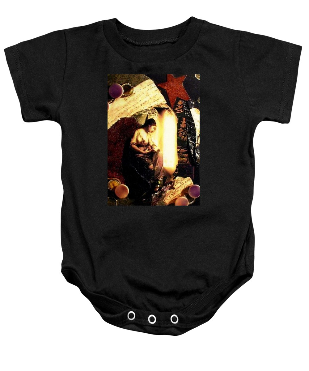 Mixed Media Baby Onesie featuring the mixed media A Secret Place by Gail Kirtz