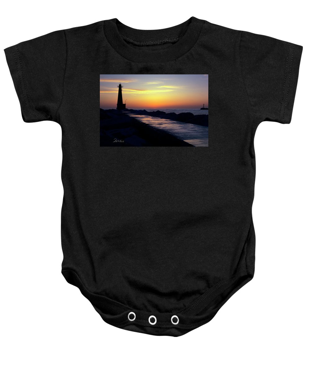 Color Baby Onesie featuring the photograph A Sliver Of Sunset by Frederic A Reinecke