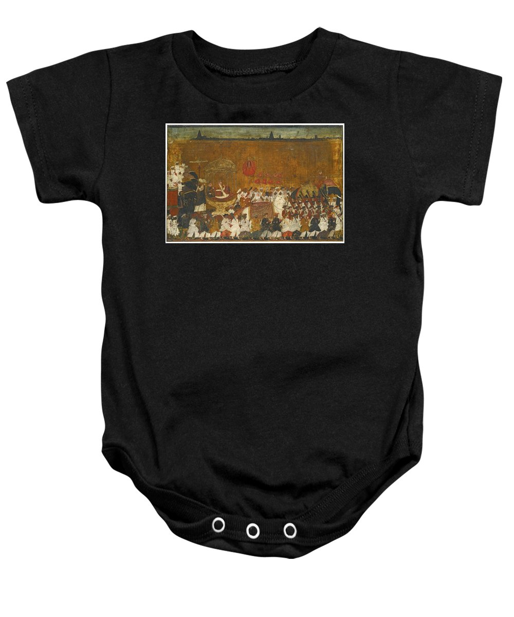 A State Procession Of Raja Tulsaji Of Tanjore Baby Onesie featuring the painting A State Procession Of Raja Tulsaji by Eastern Accents
