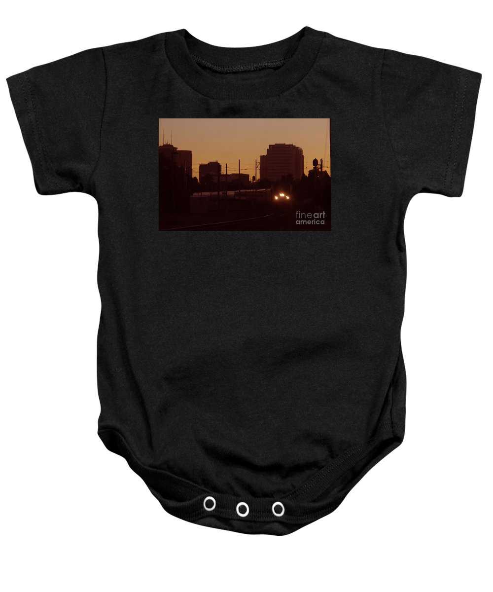 Train Baby Onesie featuring the photograph A Train A Com In by David Lee Thompson