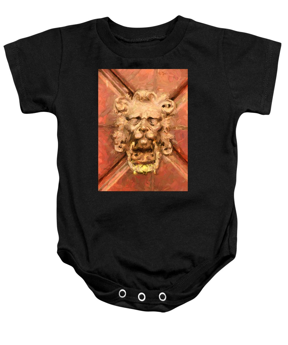 A Venetian Welcome Baby Onesie featuring the mixed media A Venetian Welcome by Georgiana Romanovna